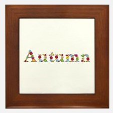 Autumn Bright Flowers Framed Tile