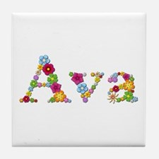 Ava Bright Flowers Tile Coaster