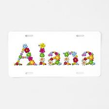 Alana Bright Flowers Aluminum License Plate