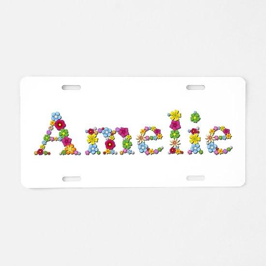 Amelie Bright Flowers Aluminum License Plate