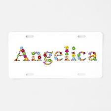Angelica Bright Flowers Aluminum License Plate