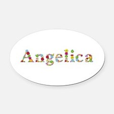 Angelica Bright Flowers Oval Car Magnet