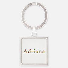 Adriana Bright Flowers Square Keychain
