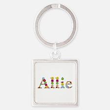 Allie Bright Flowers Square Keychain