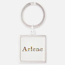 Arlene Bright Flowers Square Keychain