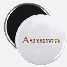 Autumn Bright Flowers Round Magnet