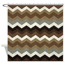 Dark Chocolate Chevron Shower Curtain