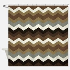Dark Chocolate Chevron Shower Curtain