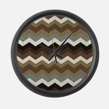 Dark Chocolate Chevron Large Wall Clock
