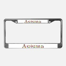 Autumn Bright Flowers License Plate Frame
