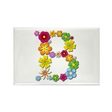 B Bright Flowers Rectangle Magnet