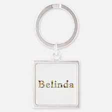 Belinda Bright Flowers Square Keychain