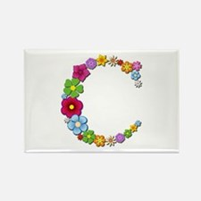 C Bright Flowers Rectangle Magnet