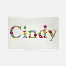 Cindy Bright Flowers Rectangle Magnet
