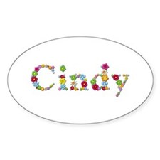 Cindy Bright Flowers Oval Decal