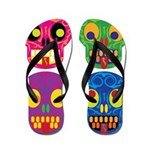 Colored skull Flip Flops