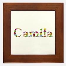 Camila Bright Flowers Framed Tile