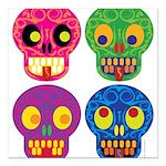 Colored skull Square Car Magnet 3