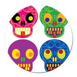 Colored skull Round Car Magnet