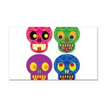 Colored skull Rectangle Car Magnet