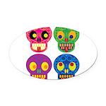 Colored skull Oval Car Magnet