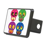Colored skull Rectangular Hitch Cover