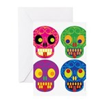 Colored skull Greeting Cards