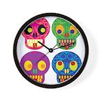 Colored skull Wall Clock