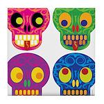 Colored skull Tile Coaster