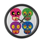 Colored skull Large Wall Clock