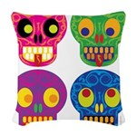 Colored skull Woven Throw Pillow