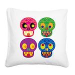 Colored skull Square Canvas Pillow