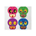 Colored skull Throw Blanket