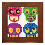 Colored skull Framed Tile
