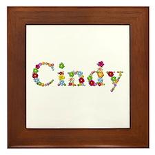 Cindy Bright Flowers Framed Tile