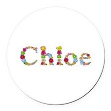 Chloe Bright Flowers Round Car Magnet