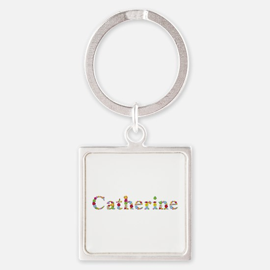 Catherine Bright Flowers Square Keychain
