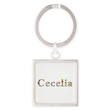 Cecelia Bright Flowers Square Keychain