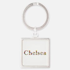 Chelsea Bright Flowers Square Keychain