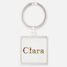 Clara Bright Flowers Square Keychain