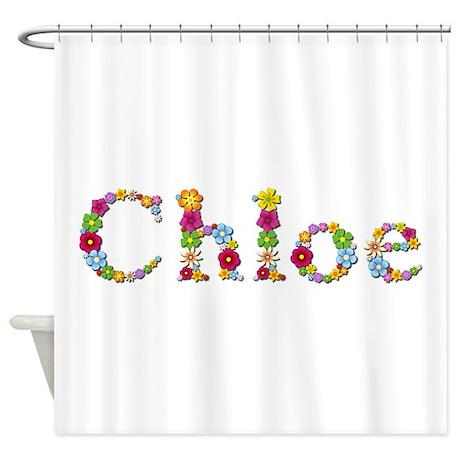 chloe bright flowers shower curtain by namestuff