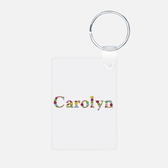 Carolyn Bright Flowers Aluminum Keychain