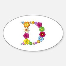 D Bright Flowers Oval Decal