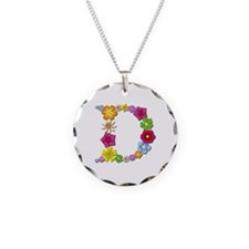 D Bright Flowers Necklace Circle Charm