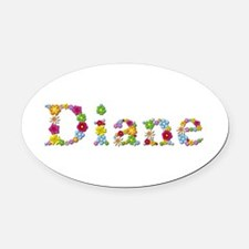 Diane Bright Flowers Oval Car Magnet