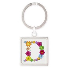 D Bright Flowers Square Keychain