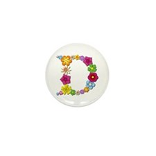 D Bright Flowers Mini Button 100 Pack