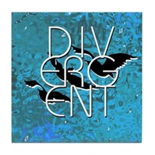Divergent Black White and Blue Tile Coaster