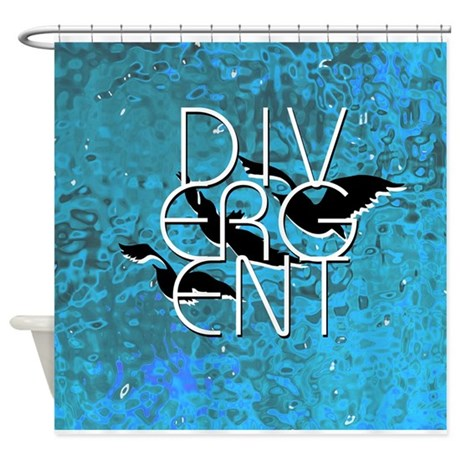 Divergent Black White And Blue Shower Curtain By Teecreation