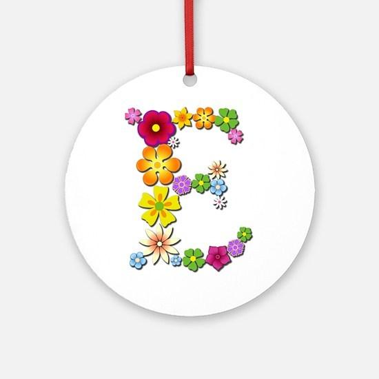 E Bright Flowers Round Ornament